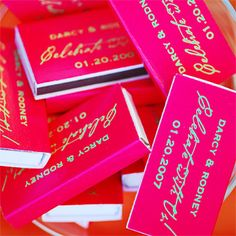 The matchbooks, which were used to light cigars the groom set out or taken home as souvenirs, were placed in a large martini glass in a corner of the reception area.
