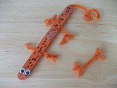 Pet Store/Vet Party: Preschool Crafts for Kids*: Popsicle Stick Lizard Craft Popsicle Stick Crafts, Popsicle Sticks, Craft Stick Crafts, Craft Sticks, Letter L Crafts, Alphabet Crafts, Kids Crafts, Summer Crafts, Lizard Craft