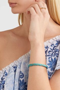 Aurélie Bidermann - Copacabana Gold-plated Braided Cotton Cuff - Turquoise - one size