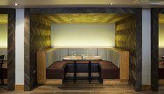 #interior #restaurant #bar #booth #yellow #linear #uplight #wall #herringbone #wood #