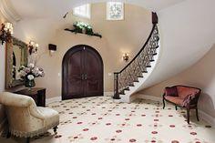 Via Emilia dlažba s květy / floor tiling Grand Foyer, Grand Entrance, Foyer Decorating, Arched Windows, Style Tile, Entry Hall, Stone Flooring, Elegant Homes, Skylight