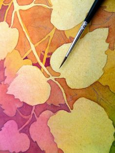 In this PDF downloadable Painted Prism Tutorial, Pat Howard shares her layered approach to Negative Painting in Watercolor. Aspen Leaves is a