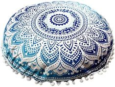 Lisin Pillows Cover Case Cushions,Soft Indian Mandala Pillows Round Bohemian Home Cushion Pillows Cover Case Cushions Indian Mandala, Floor Pillows, Beach Mat, Decorative Bowls, Pillow Covers, Ottoman, Outdoor Blanket, Cushions, Bohemian