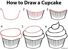 How to Draw a Cupcake Step by Step Drawing Tutorial with Pictures . How to Draw a Cupcake Step by Step Drawing Tutorial with Pictures Doodle Drawings, Doodle Art, Drawing Sketches, Drawing Ideas, Sketch Ideas, Drawing Tutorials, Drawing Art, Cupcake Painting, Cupcake Art