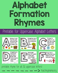 Alphabet Formation Rhymes - Printable rhymes for all 26 uppercase letters! A fun way to teach handwriting and rhyming words!