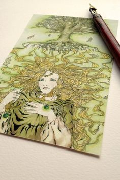 4x6 Arafrael's Glamour- Mini Print - First Edition on Etsy, $5.00 - watercolor, illustration, ink, fantasy, art nouveau, elf, fairy take, blond, tree, autumn, falling leaves, hair, beauty