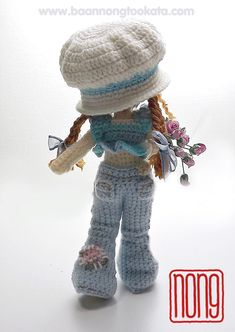Amigurumi crochet doll wearing crochet jeans, fab! (Pattern available to buy on Etsy).