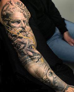 Zeus Tattoo, Statue Tattoo, Posseidon Tattoo, Hercules Tattoo, Tattoos Arm Mann, Arm Tattoos For Guys, Trendy Tattoos, Body Art Tattoos, Men Tattoos