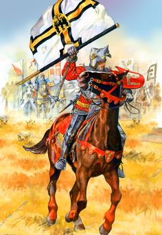 Polish noble knight with a captured banner of the Teutonic Order, Northern Crusade
