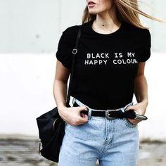 d47877fee Black Is My Happy Colour T-Shirt – Rebel Style Shop Rebel Fashion
