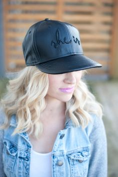 Genuine Black Leather SHE IS Snapback by SheIsClothing on Etsy Lazy Fashion, She Is Clothed, Cool Hats, Snap Backs, Baseball Hats, Summer Outfits, Black Leather, My Style, Instagram Posts