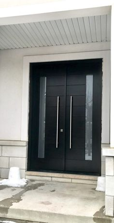 Solid Wood Modern Groove Double Entrance Door - Modern Doors - November 04 2019 at Modern Entrance Door, Modern Front Door, House Entrance, Wood Entry Doors, Front Door Entrance, Double Front Entry Doors, Double Doors Exterior, Solid Wood Front Doors, Exterior Wood Siding Panels