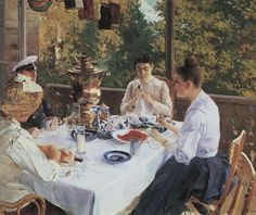 At the Tea-Table, 1888 by Konstantin Korovin. Impressionism. genre painting. Polenov Museum