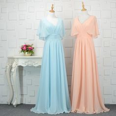 Chiffon Evening Dress, Vintage V Neck Long Prom