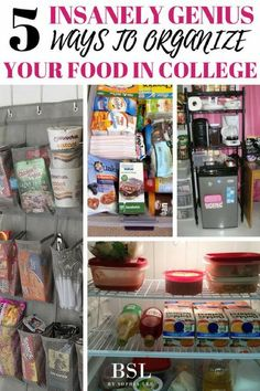 5 Insanely Genius Ways to Organize Your Food In College - By Sophia Lee : This post gives the best dorm room organization for all your food! It has great dorm room organization tips that all college students should know! Dorm Room Closet, Dorm Room Food, Dorm Room Storage, Cool Dorm Rooms, Dorm Room Snacks, Guy Dorm Rooms, Uni Room, College Dorm Organization, College Dorm Essentials