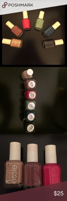 Assortment of 6 bottles of Essie Nail Polish 6 bottles of Essie nail polish that are perfect for all occasions. Colors are from left to right : Spin the Bottle, Island Hopping, Fruit Sangria, Turquoise and Caicos, Mesmerize, Under the Twilight. Willing to sell as individuals or smaller packs as well if you are interested!! Retails for $8.50 per bottle, this is an amazing value!!! Essie Makeup