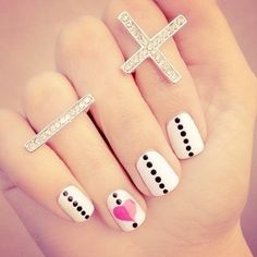White, black pin dots, pink heart - nails