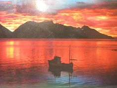 Vintage Postcard,  Norway Lyngen, Mood At Midnight Sun, 1960's Harbor Sunrise Sunset, Travel Art Photo, Scandinavia, Nordic, Scrapbook by LuckyPennyTrading on Etsy