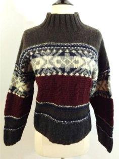 AMERICAN EAGLE Sweater 100% SHETLAND WOOL Cropped Boxy GEO Nordic Fair Isle SZ M