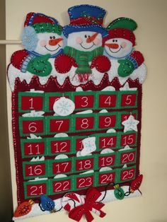 Calendario de Adviento de fieltro acabado dimensiones nieve amigos