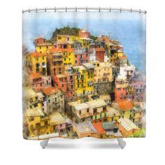 Manarola Italy Cinque Terre Watercolor Shower Curtain by Edward Fielding