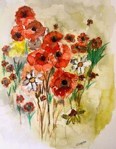 Simple Flowers - Original Watercolor Painting
