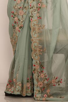 Sarrees Purchase Laurel Inexperienced Zardosi Embroidered Organza Saree On-line Hand Embroidery Dress, Embroidery Suits Design, Embroidery Saree, Embroidery Fashion, Indian Embroidery, Hand Embroidery Designs, Trendy Sarees, Stylish Sarees, Fancy Sarees