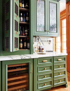 This Old World Kitchen Boasts Bold Color & Vintage Elegance - House & Home