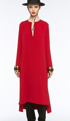 Some nerd chic! Long, tunic styled red dress with slit neck, high-low hemline and full sleeves.