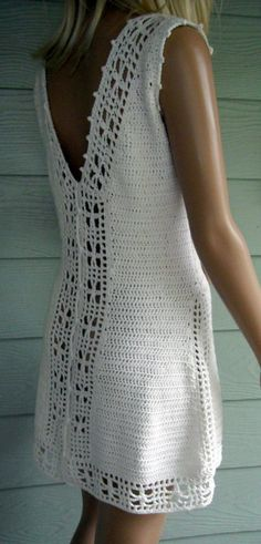 Crocheted Lace Sundress / Tennis Dress Made by HeirloomsbyAntonia Crochet Bodycon Dresses, Crochet Skirts, Crochet Blouse, Crochet Shawl, Crochet Clothes, Crochet Lace, Crochet Hooks, Crochet Wedding, Tennis Dress