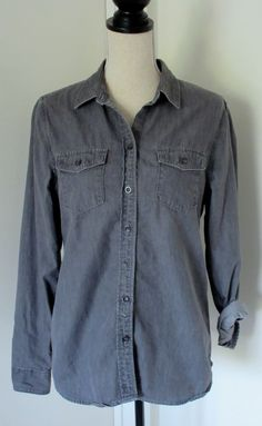 Banana Republic Gray Denim Button Down Shirt Sz M Womens #BananaRepublic #ButtonDownShirt #Casual