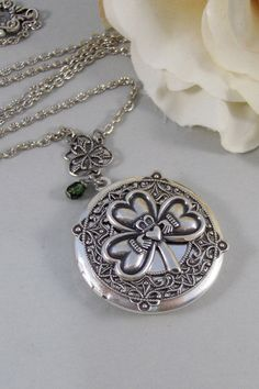 Irish Love,Locket,Claddagh, Antique Locket,Silver Locket,Heart,Crown, Irish,Lucky, Shamrock,Love. Handmade jewelry by valleygirldesigns