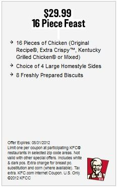 kfc printable coupons 16 piece feast for 2990 kfc coupons online coupons
