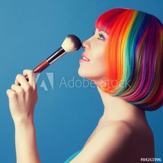 beautiful woman wearing colorful wig and holding make-up brush a Clipart, Makeup Brushes, Videos, Wigs, Women Wear, Beautiful Women, Lipstick, Make Up, Woman