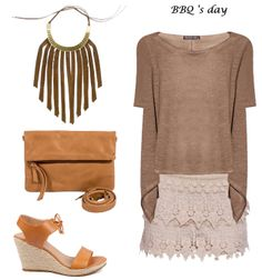 collar cuero, look barbacoa, look de día, look en tonos tierra, earth tone outfit, look con shorts de crochet