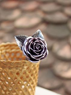 pink silver wax rose hair stick hair accessories by Joyloveclay