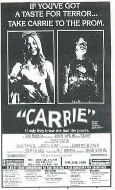 """Ad for """"Carrie."""" From The Evening Bulletin (Philadelphia); Wednesday, November Page All Horror Movies, Horror Movie Posters, Old Movies, Vintage Movies, Piper Laurie, Film Recommendations, John Travolta, Tv Ads, Vintage Horror"""