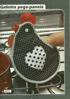 Moldes Para Artesanato em Tecido: Pega Panela com molde 1/4