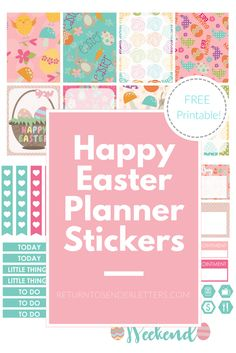 FREE Happy Easter Printable Planner Stickers! Weekly planner sticker kit. Erin Condren Planner