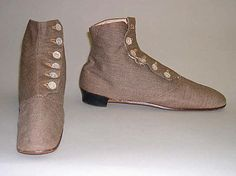 American cotton and leather boot, 1860's