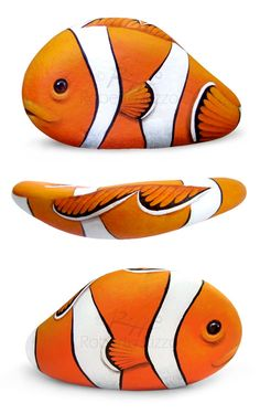 Un pesce pagliaccio dipinto finemente su un ciottolo di mare! Una piccola opera d'arte irresistibile e preziosa!