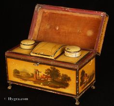 Tea Caddy The sheet steel or iron would first have been tinned, that is covered in a thin coating of tin. First the  ferrous metal was pickled in acid to remove oxides and impurities. Tallow was commonly  used as a flux. The prepared sheet would then have been fabricated into the chest.