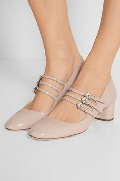 Heel measures approximately 45mm/ 2 inches Beige patent-leather Buckle-fastening straps Designer color: Cipria Made in Italy