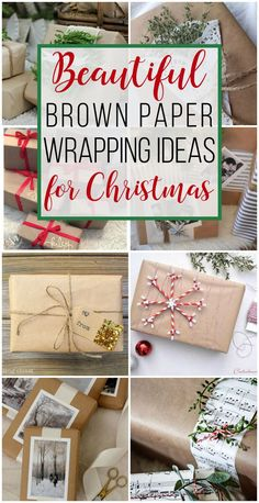 15 Brown Paper Wrapping Ideas for Christmas - unOriginal Mom-- Love these ideas for dressing up brown paper packages at Christmas! Save money on wrapping paper and still have the prettiest gifts under the tree. Christmas Present Wrap, Diy Christmas Presents, Christmas Gift Wrapping, Christmas Paper, All Things Christmas, Handmade Christmas, Christmas Crafts, Christmas Decorations, Christmas Packages