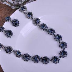 Vintage Luxurious Joias Ouro Zircon Colar Necklace Earrings Sets Brincos Blue Crystal Bijuterias Earrings Jewelry Set Joyas