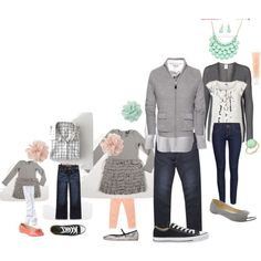 Spring Family Picture, picture outfit ideas.  mint, peach, grey
