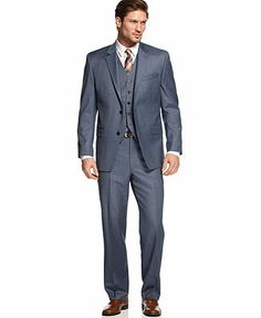 Possible wedding suit for groom > Shaquille O'Neal Blue Sharkskin Suit Separate Big and Tall - Suits & Suit Separates - Men - Macy's