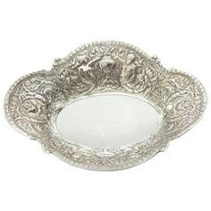 Purposeful Vintage Denmark Repousse Silver Plate Hand Mirror Vanity Pocket Purse Antiques