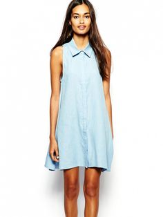 Love menswear? Try a shirt dress as a polished swimsuit cover-up. // Glamorous Denim Sleeveless Swing Shirt Dress in Blue