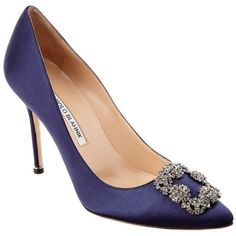 Manolo Blahnik Manolo Blahnik Hangisi 105mm Satin Pump (403918301) (£620) ❤ liked on Polyvore featuring shoes, pumps, nocolor, manolo blahnik pumps, navy blue satin shoes, navy pumps, embellished pumps and high heeled footwear